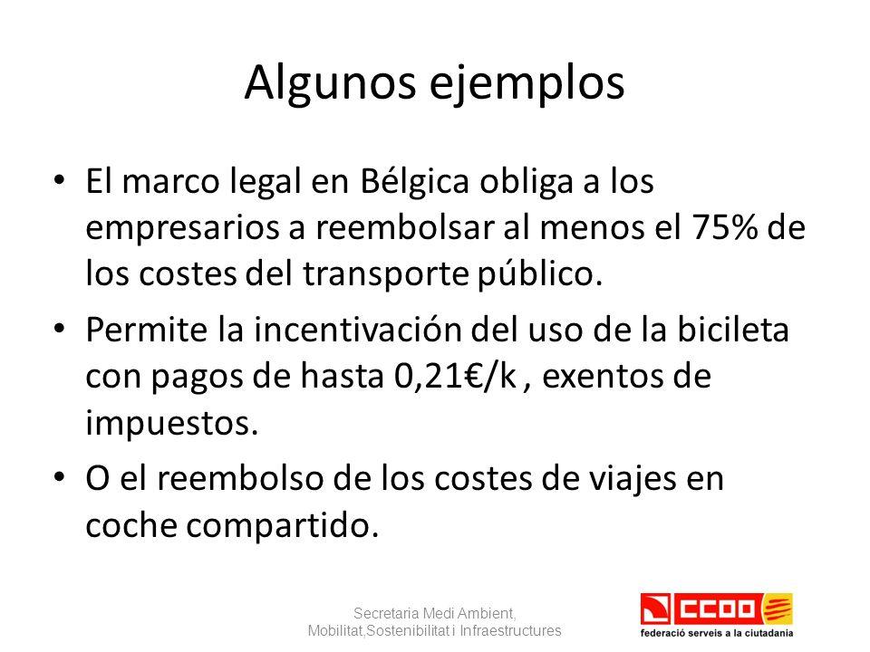 Algunos ejemplos El marco legal en Bélgica obliga a los empresarios a reembolsar al menos el 75% de los costes del transporte público.