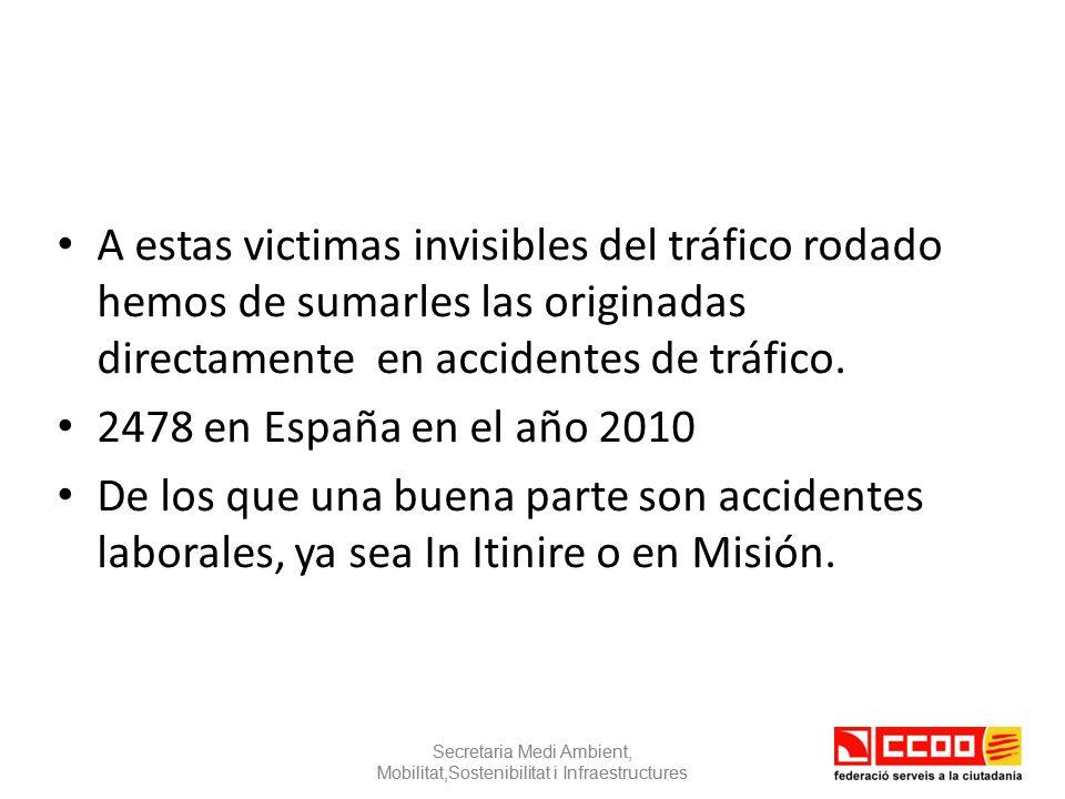 A estas victimas invisibles del tráfico rodado hemos de sumarles las originadas directamente en accidentes de tráfico.
