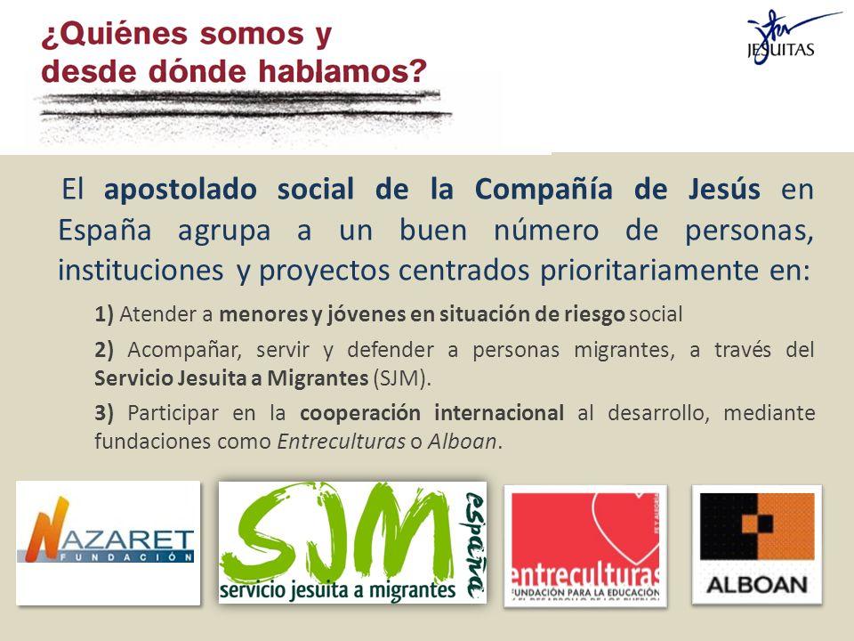 El apostolado social de la Compañía de Jesús en España agrupa a un buen número de personas, instituciones y proyectos centrados prioritariamente en: 1