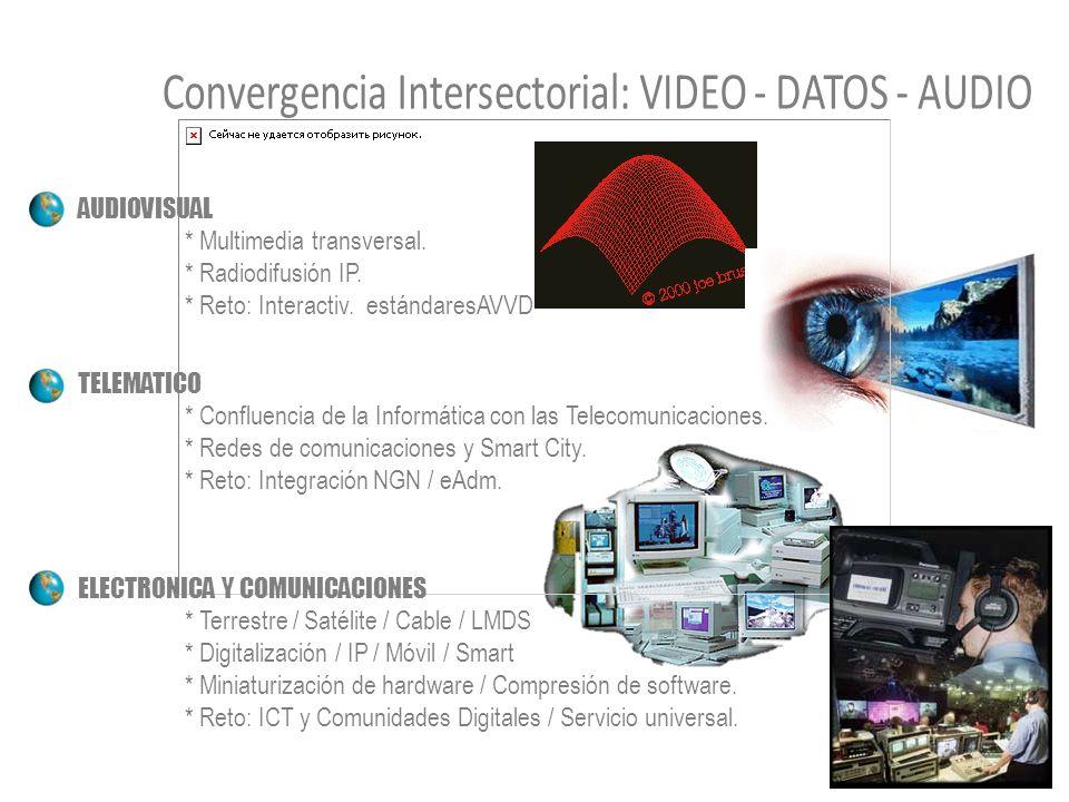 AUDIOVISUAL * Multimedia transversal. * Radiodifusión IP. * Reto: Interactiv. estándaresAVVD TELEMATICO * Confluencia de la Informática con las Teleco
