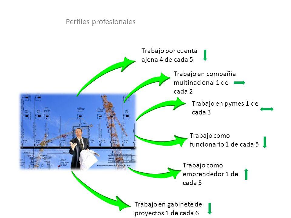 Trabajo por cuenta ajena 4 de cada 5 Trabajo en compañía multinacional 1 de cada 2 Trabajo en pymes 1 de cada 3 Trabajo como funcionario 1 de cada 5 T
