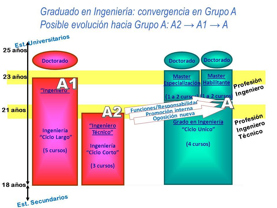 18 años 21 años 23 años Doctorado Ingeniero Ingeniería Ciclo Largo (5 cursos) Est. Secundarios Est. Universitarios Grado en Ingeniería Ciclo Unico (4