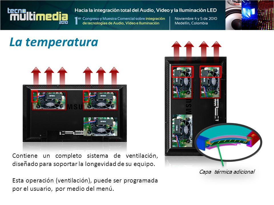Contiene un completo sistema de ventilación, diseñado para soportar la longevidad de su equipo. Esta operación (ventilación), puede ser programada por