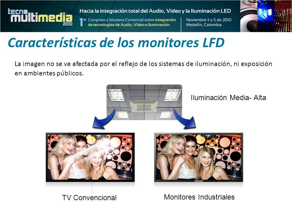 La imagen no se ve afectada por el reflejo de los sistemas de iluminación, ni exposición en ambientes públicos. Características de los monitores LFD I