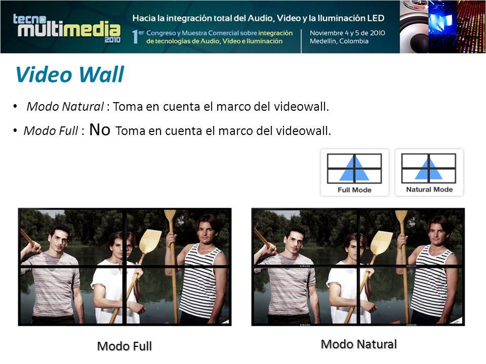 Modo Full Modo Natural Modo Full : No Toma en cuenta el marco del videowall. Modo Natural : Toma en cuenta el marco del videowall. Video Wall