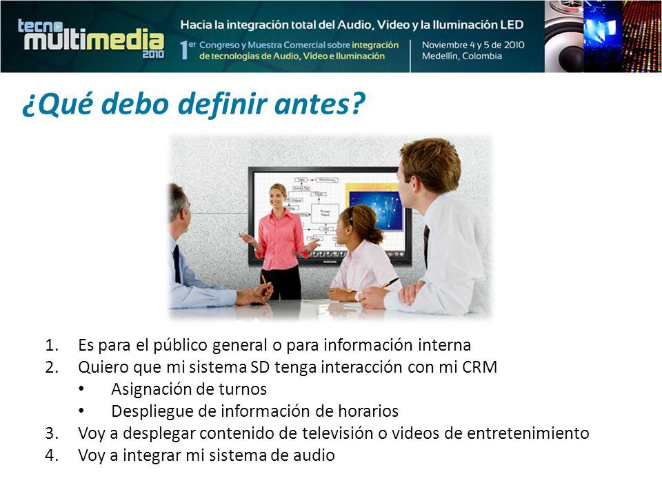 1.Es para el público general o para información interna 2.Quiero que mi sistema SD tenga interacción con mi CRM Asignación de turnos Despliegue de inf