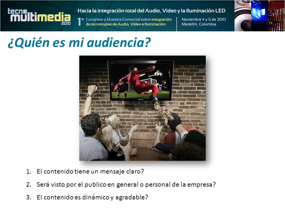 1.El contenido tiene un mensaje claro? 2.Será visto por el publico en general o personal de la empresa? 3.El contenido es dinámico y agradable? ¿Quién