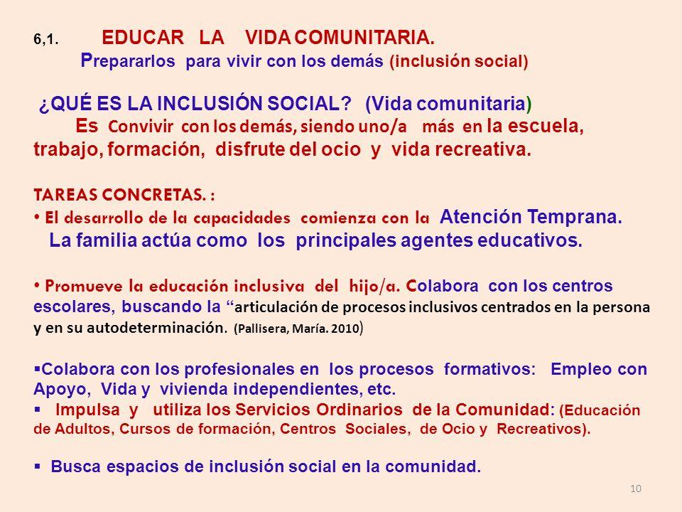 10 6,1. EDUCAR LA VIDA COMUNITARIA. P repararlos para vivir con los demás (inclusión social) ¿QUÉ ES LA INCLUSIÓN SOCIAL? (Vida comunitaria) Es Conviv