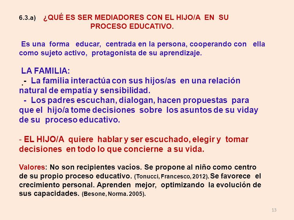 13 6.3.a) ¿QUÉ ES SER MEDIADORES CON EL HIJO/A EN SU PROCESO EDUCATIVO. Es una forma educar, centrada en la persona, cooperando con ella como sujeto a