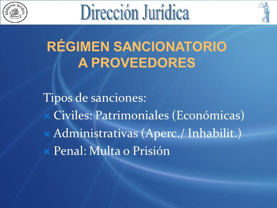 RÉGIMEN SANCIONATORIO A PROVEEDORES Tipos de sanciones: Civiles: Patrimoniales (Económicas) Administrativas (Aperc./ Inhabilit.) Penal: Multa o Prisió