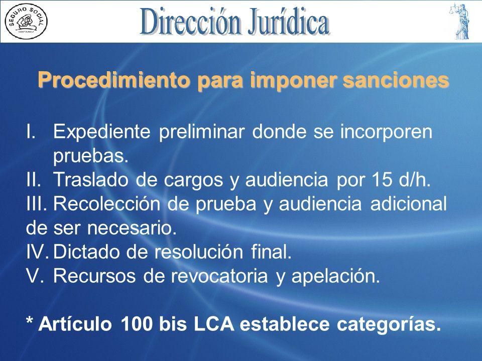 Procedimiento para imponer sanciones I.Expediente preliminar donde se incorporen pruebas. II.Traslado de cargos y audiencia por 15 d/h. III.Recolecció