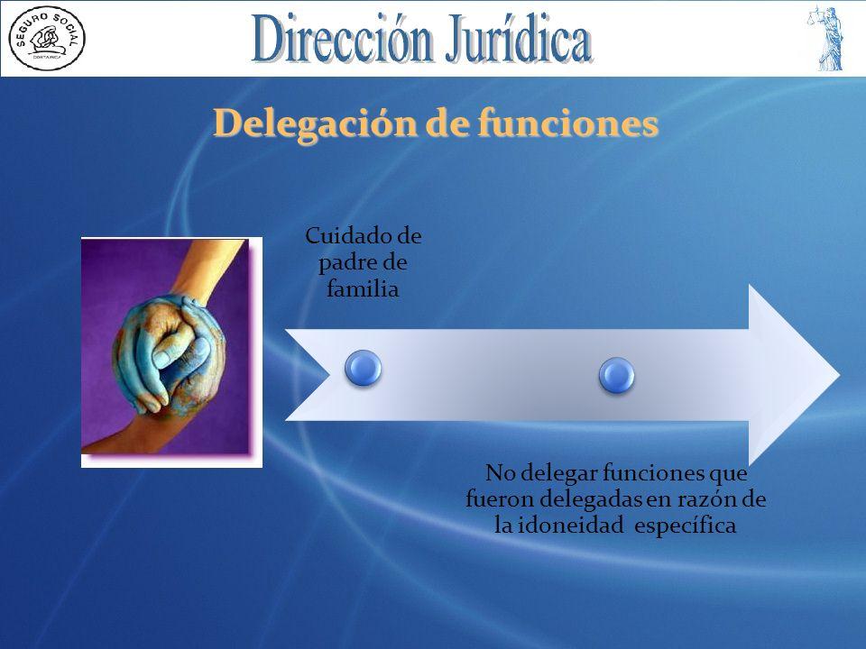 Delegación de funciones Cuidado de padre de familia No delegar funciones que fueron delegadas en razón de la idoneidad específica