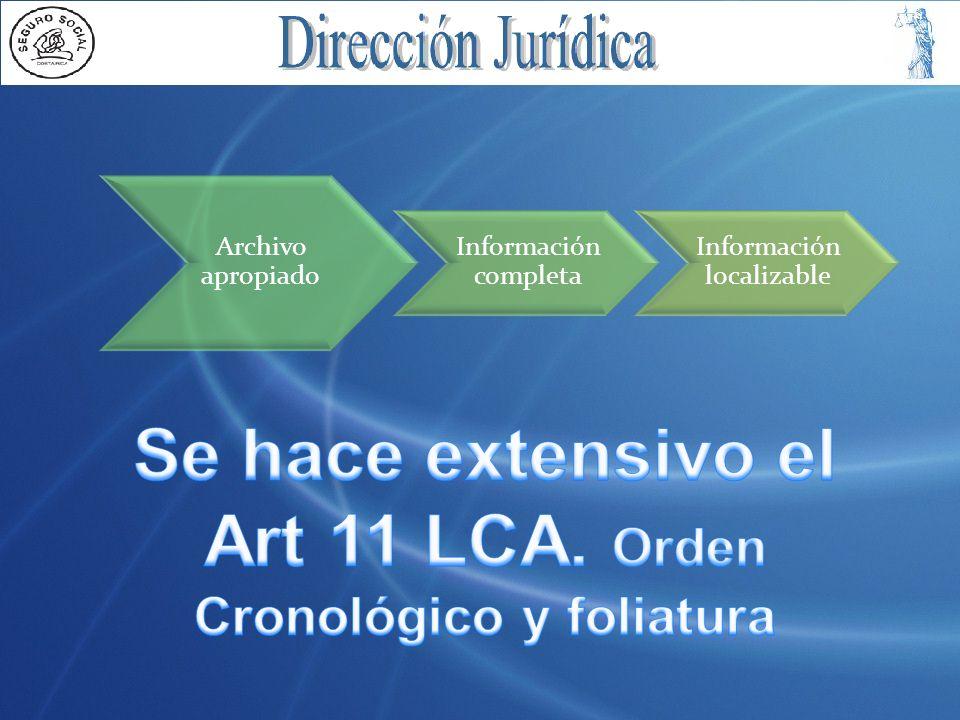 Archivo apropiado Información completa Información localizable