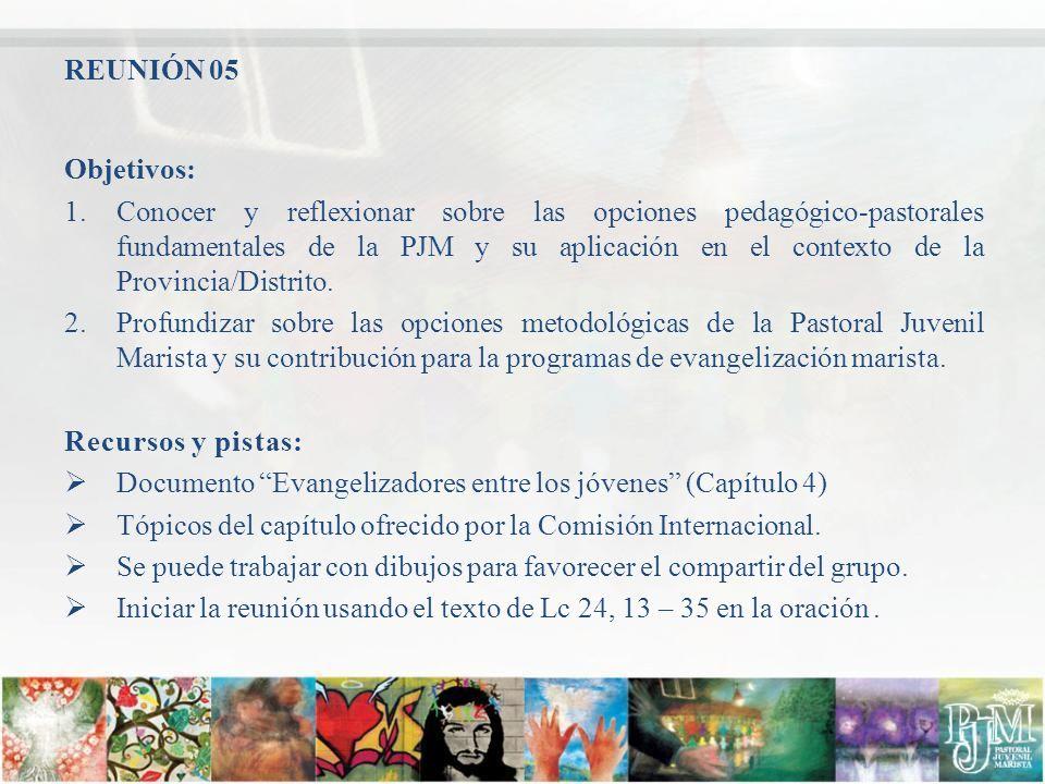 Objetivos: 1.Conocer y reflexionar sobre las opciones pedagógico-pastorales fundamentales de la PJM y su aplicación en el contexto de la Provincia/Dis
