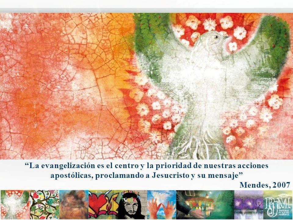 La evangelización es el centro y la prioridad de nuestras acciones apostólicas, proclamando a Jesucristo y su mensaje Mendes, 2007