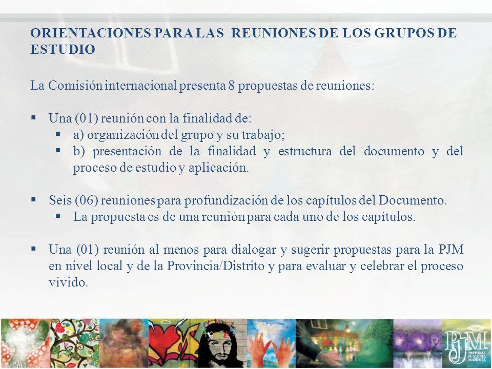ORIENTACIONES PARA LAS REUNIONES DE LOS GRUPOS DE ESTUDIO La Comisión internacional presenta 8 propuestas de reuniones: Una (01) reunión con la finali