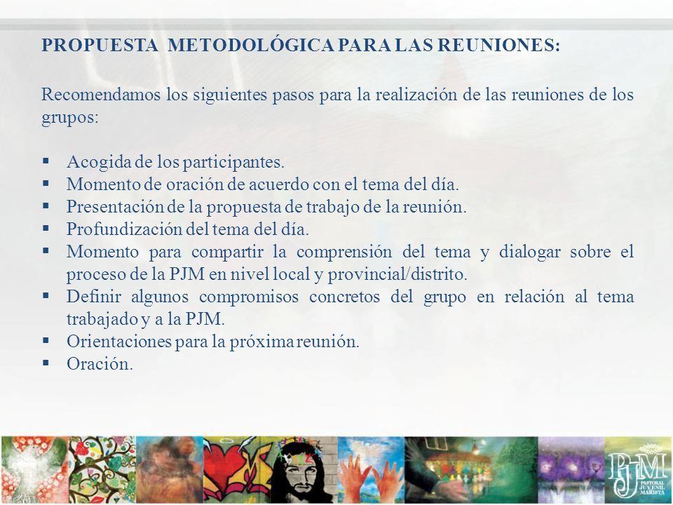 PROPUESTA METODOLÓGICA PARA LAS REUNIONES: Recomendamos los siguientes pasos para la realización de las reuniones de los grupos: Acogida de los partic