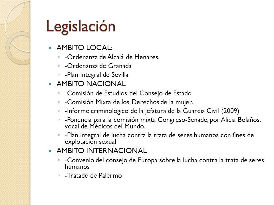 Legislación AMBITO LOCAL: -Ordenanza de Alcalá de Henares. -Ordenanza de Granada -Plan Integral de Sevilla AMBITO NACIONAL -Comisión de Estudios del C