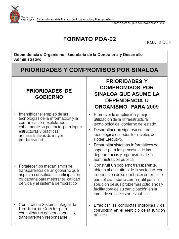 Sistema Integral de Planeación, Programación y Presupuestación Proceso para el Ejercicio Fiscal del año 2008 Gobierno del Estado 21 FORMATO POA-02 Dependencia u Organismo: Secretaría de la Contraloría y Desarrollo Administrativo PRIORIDADES Y COMPROMISOS POR SINALOA PRIORIDADES DE GOBIERNO PRIORIDADES Y COMPROMISOS POR SINALOA QUE ASUME LA DEPENDENCIA U ORGANISMO PARA 2009 Intensificar el empleo de las tecnologías de la información y la comunicación, explotando cabalmente su potencial para lograr estructuras y prácticas administrativas de mayor productividad Fortalecer los mecanismos de transparencia de un gobierno que aspira a consolidar la participación ciudadana para mejorar su calidad de vida y el sistema democrático Construir un Sistema Integral de Rendición de Cuentas para consolidar un gobierno honesto, transparente y responsable..