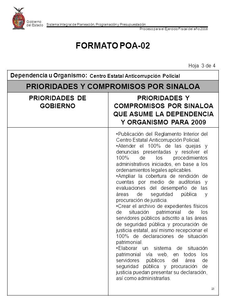 Sistema Integral de Planeación, Programación y Presupuestación Proceso para el Ejercicio Fiscal del año 2008 Gobierno del Estado 23 FORMATO POA-02 Hoja 3 de 4 Dependencia u Organismo: PRIORIDADES Y COMPROMISOS POR SINALOA PRIORIDADES DE GOBIERNO PRIORIDADES Y COMPROMISOS POR SINALOA QUE ASUME LA DEPENDENCIA Y ORGANISMO PARA 2009 Publicación del Reglamento Interior del Centro Estatal Anticorrupción Policial.