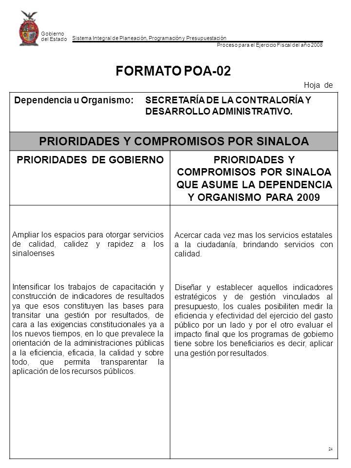 Sistema Integral de Planeación, Programación y Presupuestación Proceso para el Ejercicio Fiscal del año 2008 Gobierno del Estado 24 FORMATO POA-02 Hoja de Dependencia u Organismo:SECRETARÍA DE LA CONTRALORÍA Y DESARROLLO ADMINISTRATIVO.
