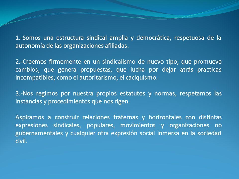 1.-Somos una estructura sindical amplia y democrática, respetuosa de la autonomía de las organizaciones afiliadas.