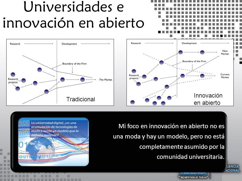 Open Innovation Universidades e innovación en abierto Tradicional Innovación en abierto Mi foco en innovación en abierto no es una moda y hay un modelo, pero no está completamente asumido por la comunidad universitaria.