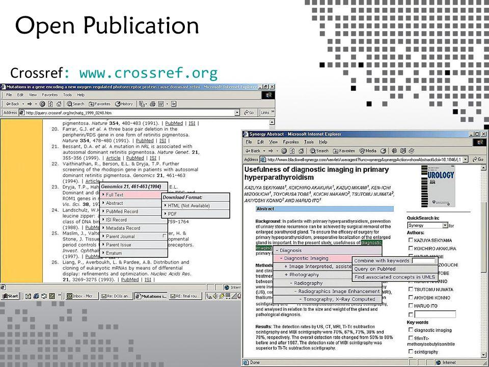 Crossref : www.crossref.org Open Publication