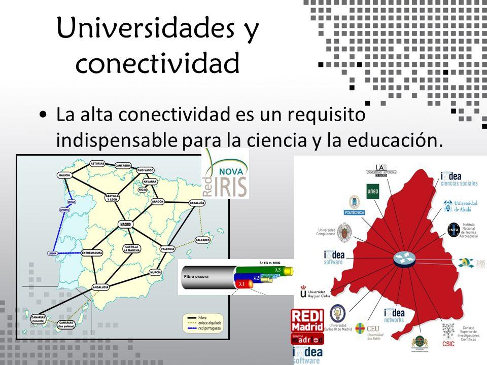 Universidades y conectividad La alta conectividad es un requisito indispensable para la ciencia y la educación.