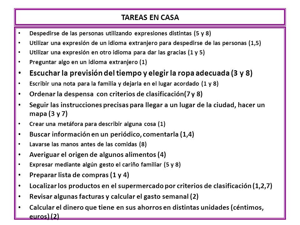TAREAS EN CASA Despedirse de las personas utilizando expresiones distintas (5 y 8) Utilizar una expresión de un idioma extranjero para despedirse de l