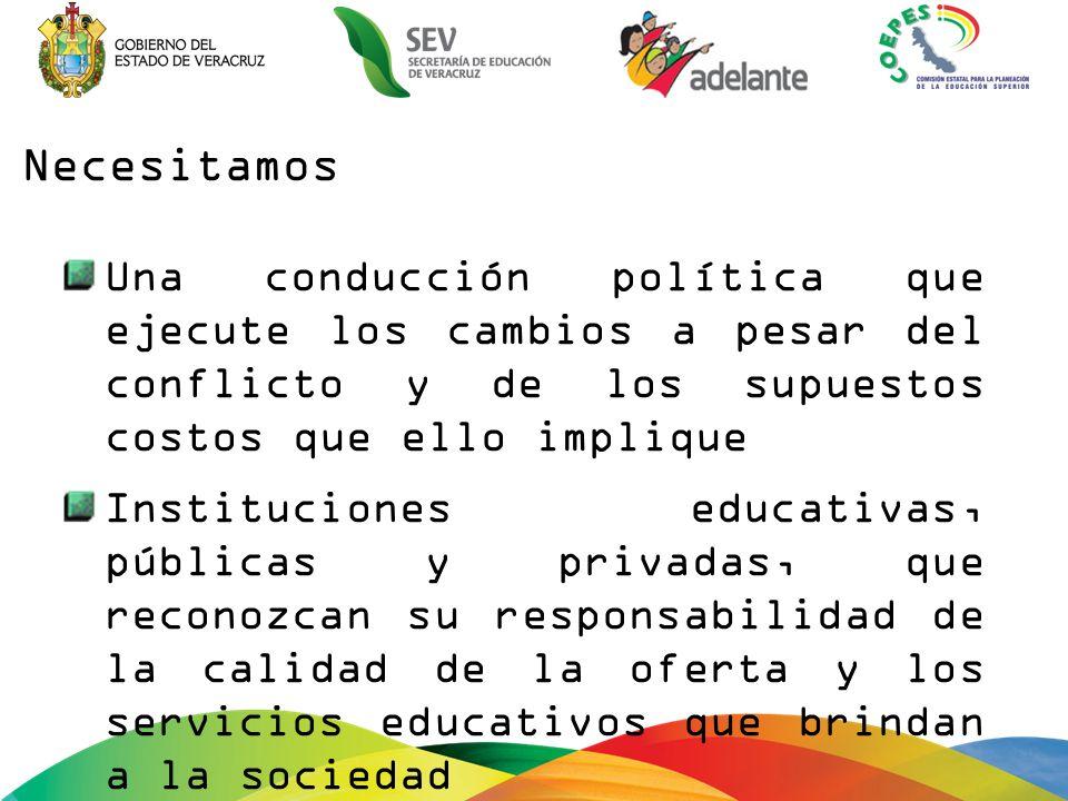 Una conducción política que ejecute los cambios a pesar del conflicto y de los supuestos costos que ello implique Instituciones educativas, públicas y privadas, que reconozcan su responsabilidad de la calidad de la oferta y los servicios educativos que brindan a la sociedad Necesitamos