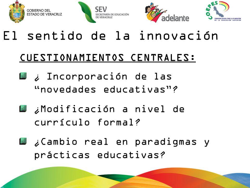 El sentido de la innovación CUESTIONAMIENTOS CENTRALES: ¿ Incorporación de las novedades educativas.