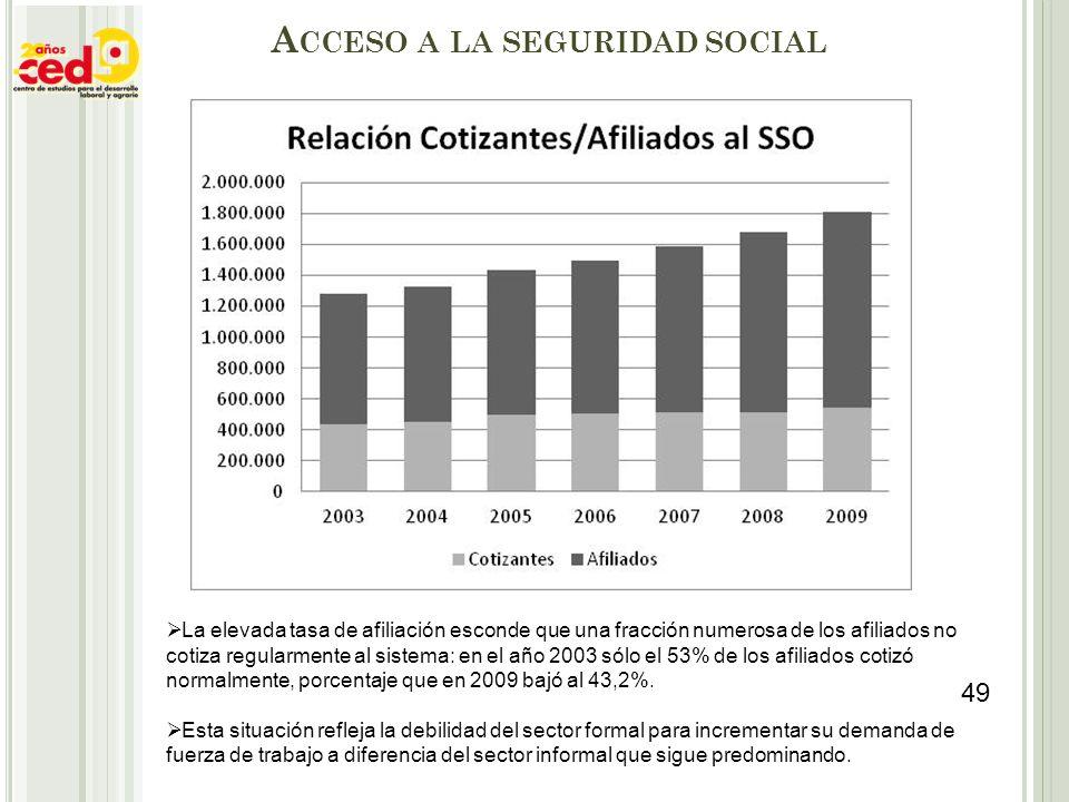 A CCESO A LA SEGURIDAD SOCIAL La elevada tasa de afiliación esconde que una fracción numerosa de los afiliados no cotiza regularmente al sistema: en e
