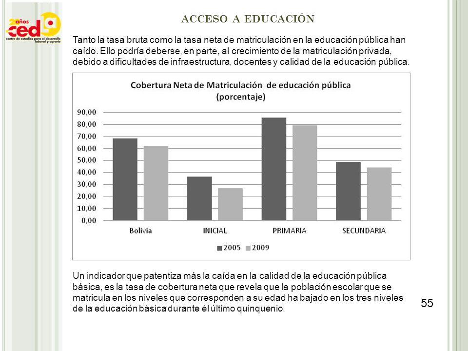 ACCESO A EDUCACIÓN Tanto la tasa bruta como la tasa neta de matriculación en la educación pública han caído. Ello podría deberse, en parte, al crecimi