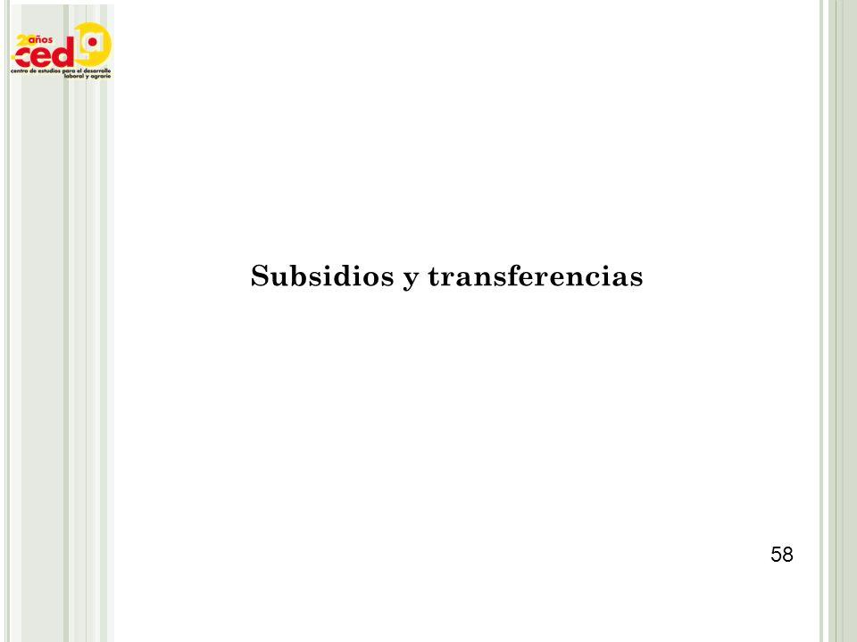 Subsidios y transferencias 58