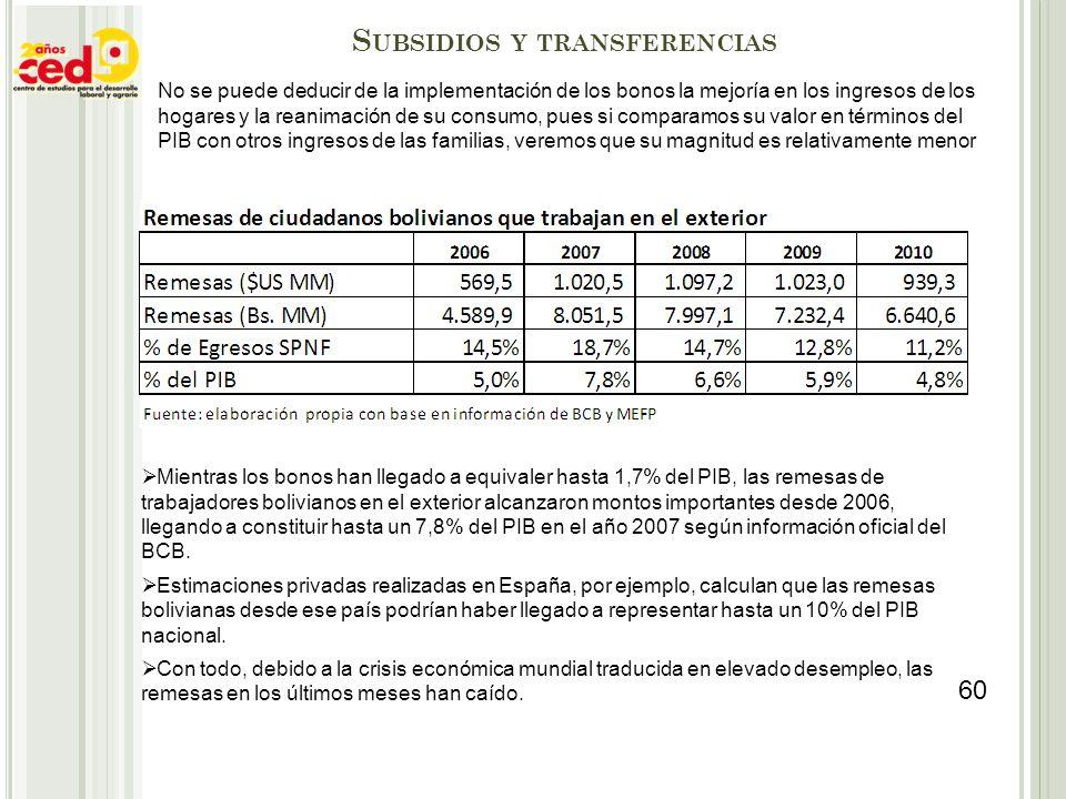 S UBSIDIOS Y TRANSFERENCIAS No se puede deducir de la implementación de los bonos la mejoría en los ingresos de los hogares y la reanimación de su con
