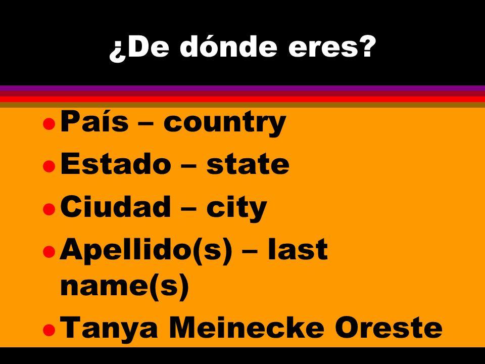 ¿De dónde eres? l País – country l Estado – state l Ciudad – city l Apellido(s) – last name(s) l Tanya Meinecke Oreste