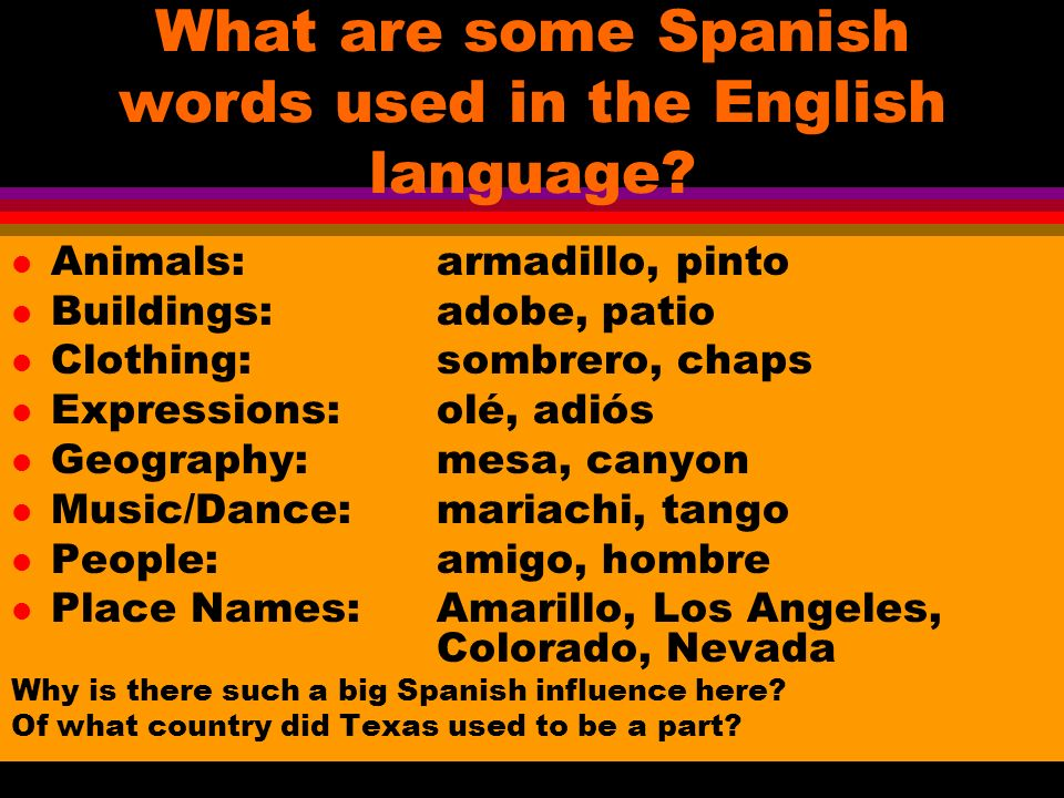 What are some Spanish words used in the English language.