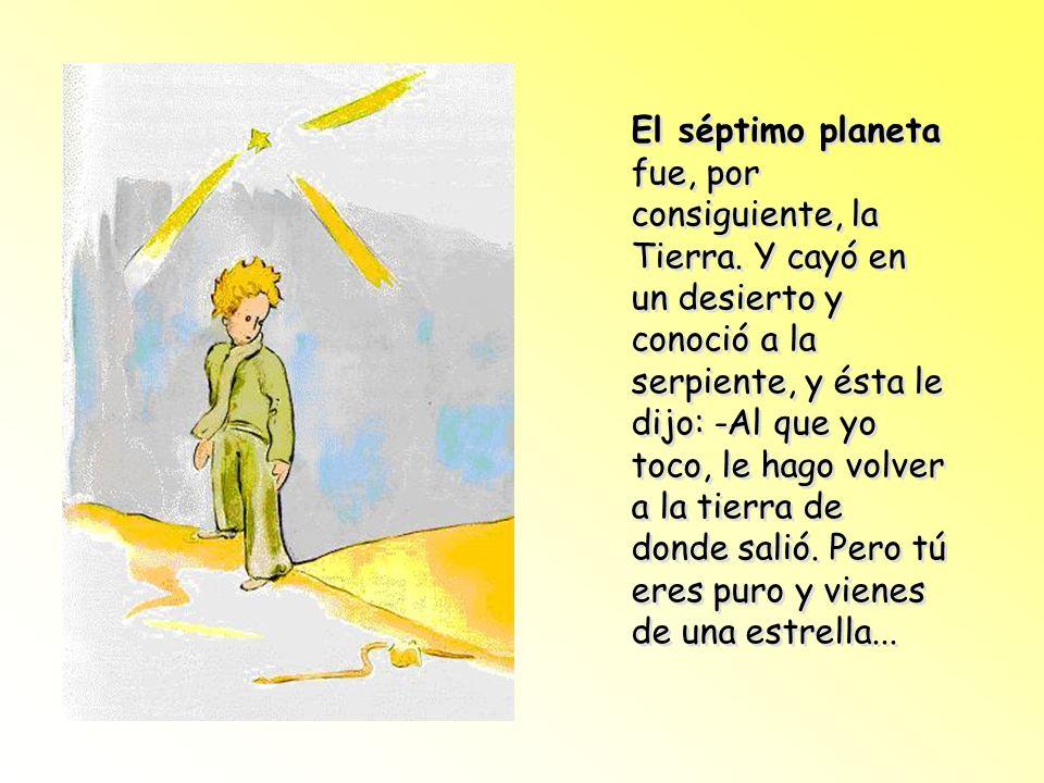 El quinto planeta era muy curioso. Era el más pequeño de todos, pues apenas cabían en él un farol y el farolero que lo habitaba. Él sólo cumplía la co