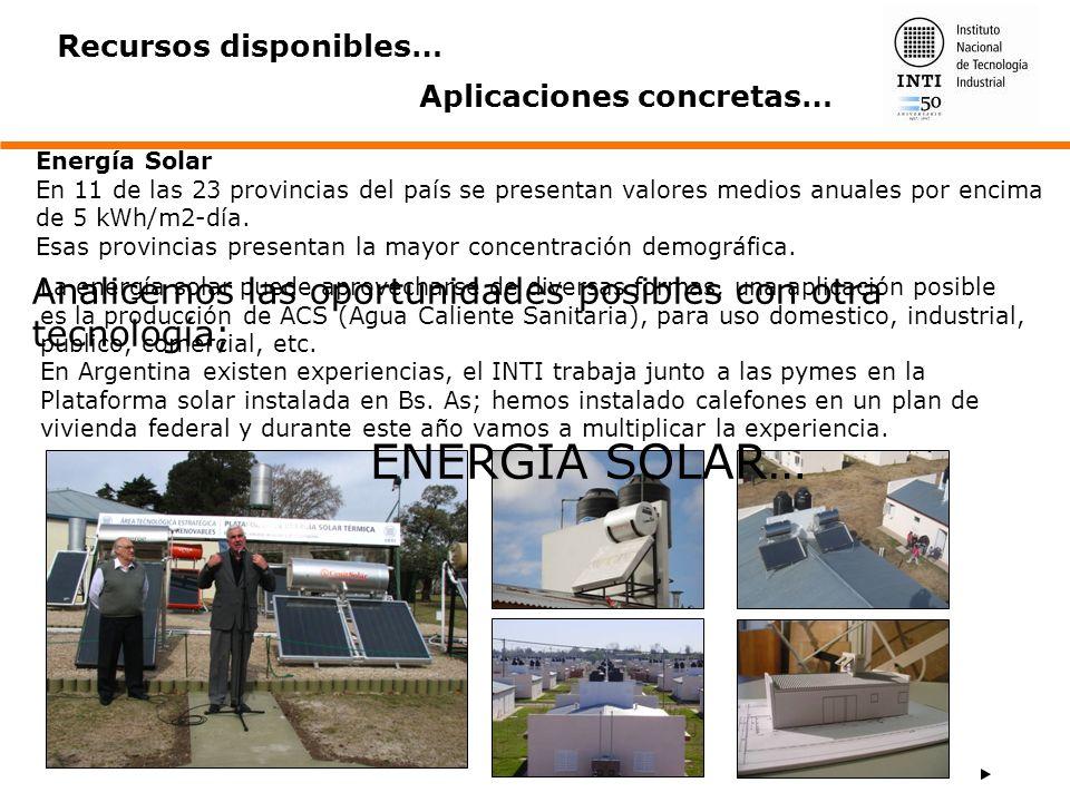 Energía Solar En 11 de las 23 provincias del país se presentan valores medios anuales por encima de 5 kWh/m2-día. Esas provincias presentan la mayor c