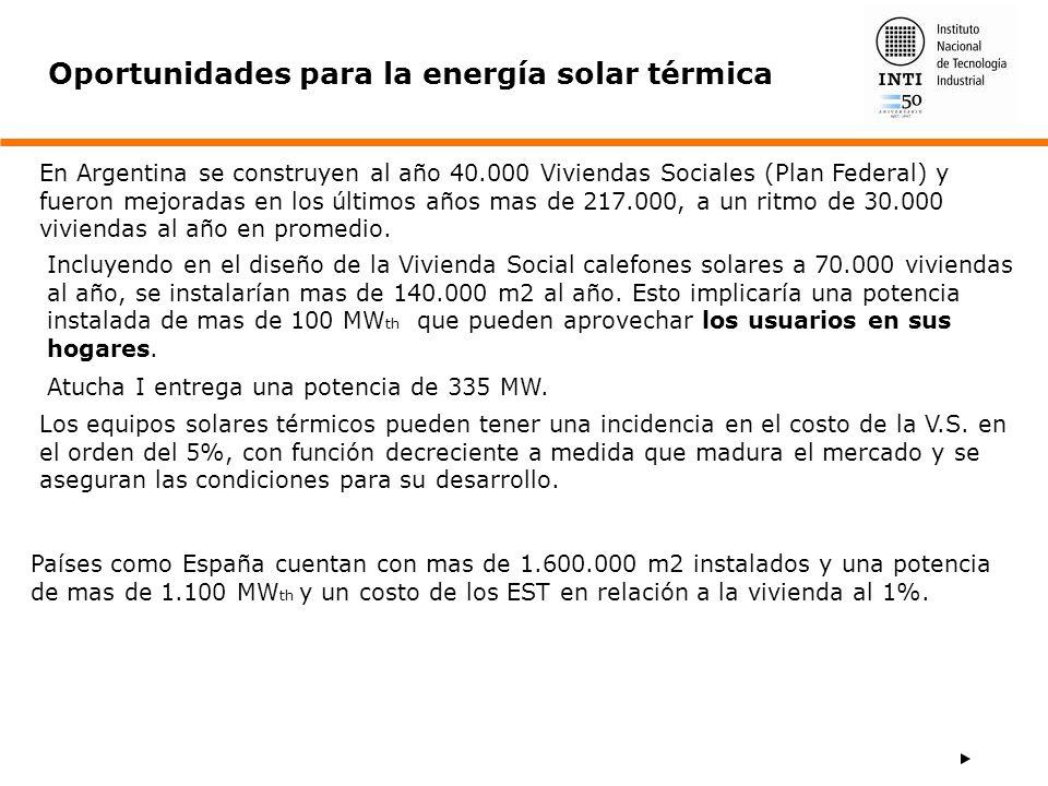 Oportunidades para la energía solar térmica En Argentina se construyen al año 40.000 Viviendas Sociales (Plan Federal) y fueron mejoradas en los últim
