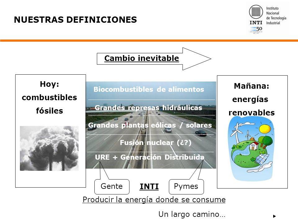 Cambio inevitable NUESTRAS DEFINICIONES Grandes plantas eólicas / solares Fusión nuclear (¿?) URE + Generación Distribuida Gente Pymes INTI Producir l