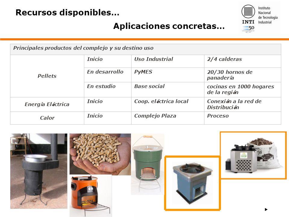 Principales productos del complejo y su destino uso Pellets InicioUso Industrial2/4 calderas En desarrolloPyMES20/30 hornos de panader í a En estudioB