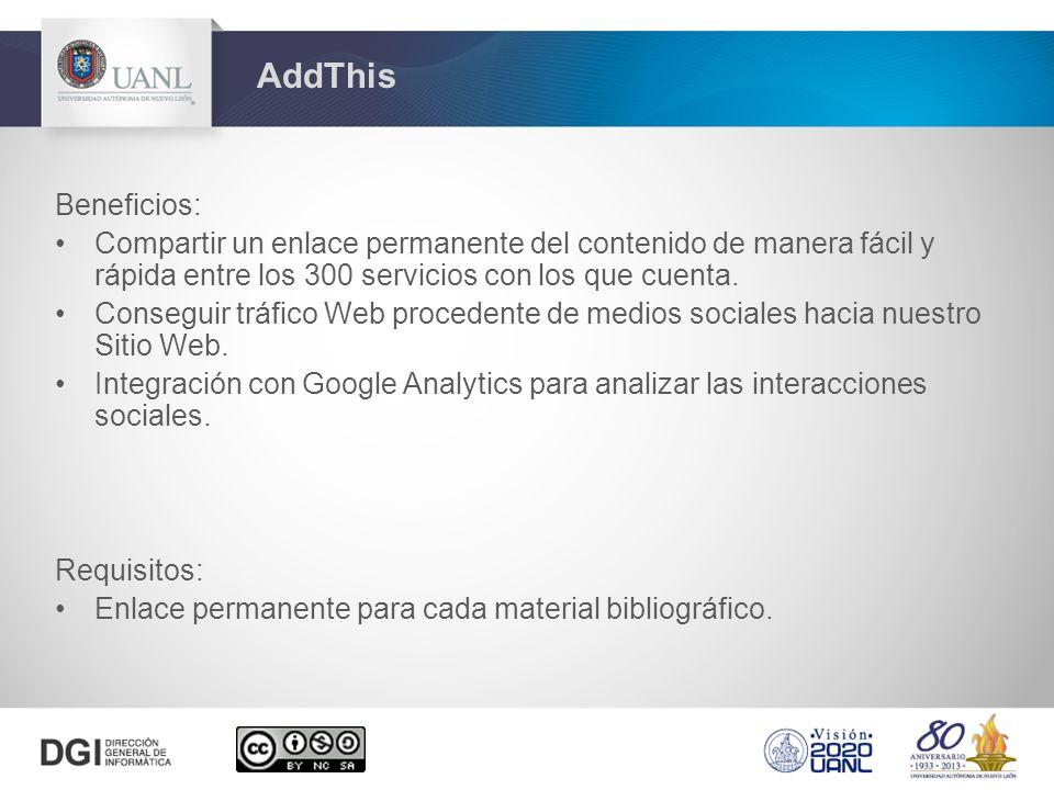 Beneficios: Compartir un enlace permanente del contenido de manera fácil y rápida entre los 300 servicios con los que cuenta.