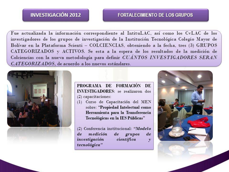 INVESTIGACIÓNINVESTIGACIÓN PROYECTOS PRESENTADOS A CONVOCATORIAS