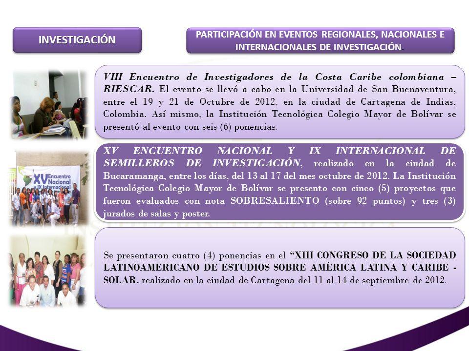 INVESTIGACIÓNINVESTIGACIÓN REALIZACIÓN DE EVENTOS (CONGRESOS) V FORO DE PENSAMIENTO MODERNO Y CONTEMPORÁNEO: Métodos de intervención del trabajador y Promotor Social en temas sobre el agua y el medio ambiente En el marco de la IV Semana de la Ciencia, la Tecnología y la Innovación patrocinada por COLCIENCIAS y la Gobernación de Bolívar, se realizó en la Institución Tecnológica Colegio Mayor de Bolívar, el V FORO DE PENSAMIENTO MODERNO Y CONTEMPORÁNEO: Métodos de intervención del trabajador y Promotor Social en temas sobre el agua y el medio ambiente, evento que contó con la participación de 110 personas de la vida pública, política, social, económica y académica - investigativa (pública y privada) de la ciudad y la región.