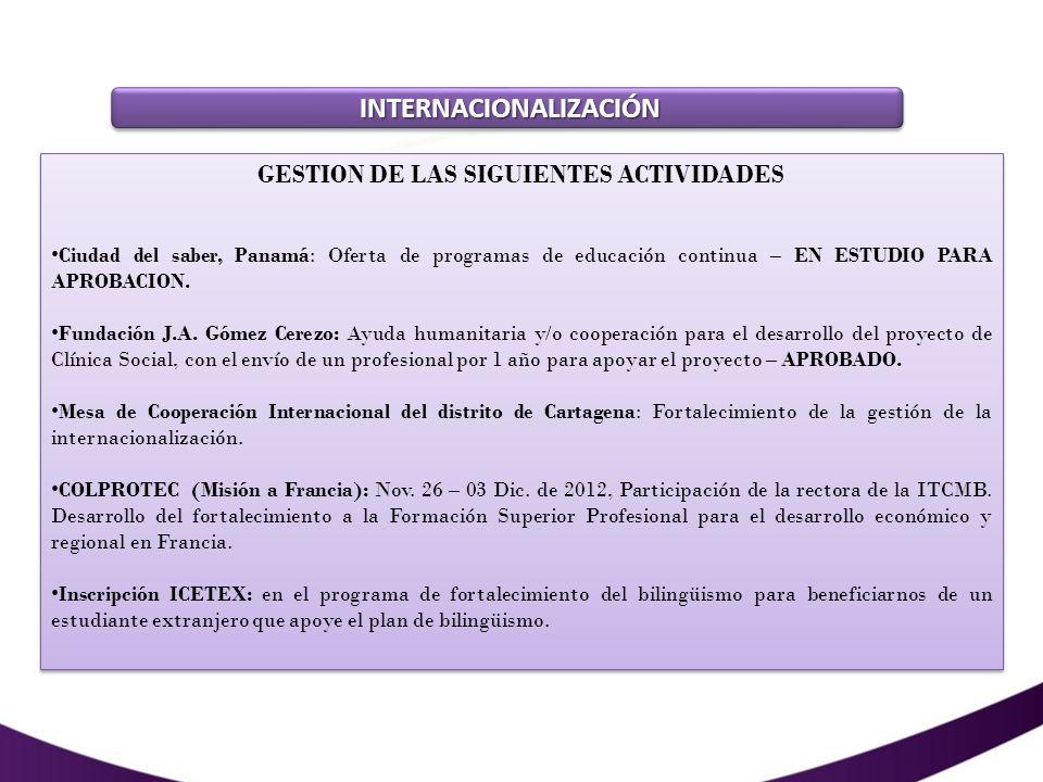 INTERNACIONALIZACIÓN INTERNACIONALIZACIÓN GESTION DE LAS SIGUIENTES ACTIVIDADES MAPES (Misión Académica por la Educación Superior Colombiana): Conocimiento del sistema de educación superior colombiano, sistemas educativos de los países visitados (Ecuador, Perú, Bolivia y Panamá); fortalecer los procesos de internacionalización de las IES participantes; apoyo de REDTTU.