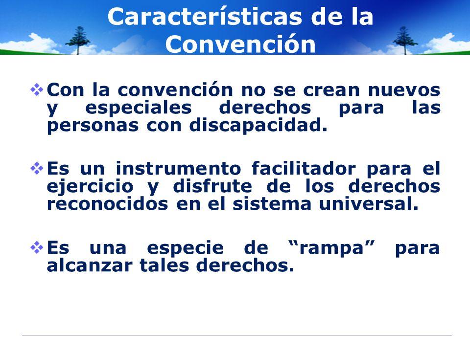 Características de la Convención Con la convención no se crean nuevos y especiales derechos para las personas con discapacidad. Es un instrumento faci