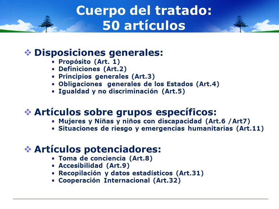 Cuerpo del tratado: 50 artículos Disposiciones generales: Propósito (Art. 1) Definiciones (Art.2) Principios generales (Art.3) Obligaciones generales