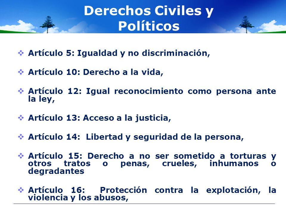 Derechos Civiles y Políticos Artículo 5: Igualdad y no discriminación, Artículo 10: Derecho a la vida, Artículo 12: Igual reconocimiento como persona